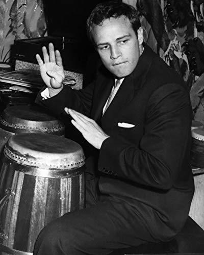 Marlon Brando 11x14 Photo classic in suit playing bongos 1950's
