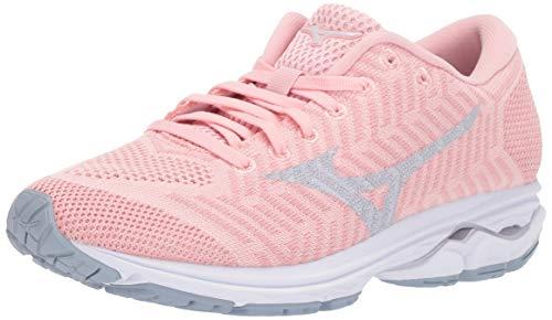 Mizuno Women's Wave Rider 22 Knit Running Shoe, powder pink-cloud, 6 B US