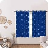 UMI. by Amazon Cortinas Opacas Decorativas con Motivos Roquillos con Ojales 2 Piezas 140x180cm Azul Oscuro