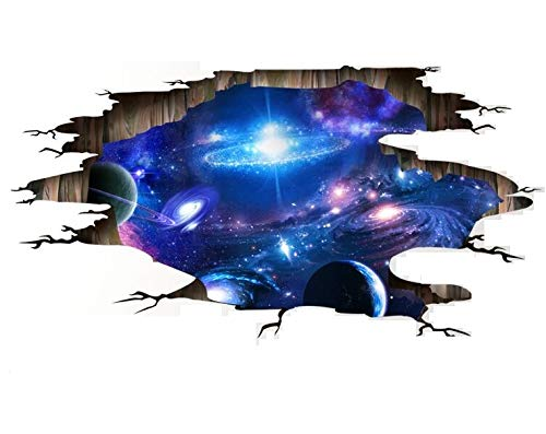 HALLOBO® XXL Wandtattoo Wandaufkleber 3D Universum Galaxie Weltraum Planet Boden Aufkleber Deckeaufkleber Wandbild Wohnzimmer Schlafzimmer Kinderzimmer Deko