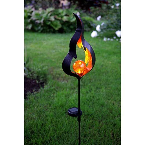 Kamaca XL LED SOLAR Gartenstab Wegeleuchte Gartenleuchte Flamme Metallstab mit beleuchteten Acryl-Kugel mit 1 Amber LED SOLARPANEL inklusive Erdspieß (Flamme Amber)