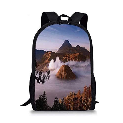 AOOEDM Backpack Mochila Escolar con Estilo volcán, volcanes del Monte Bromo tomados en la Caldera Tengger, Java Oriental, Indonesia Decorativo para niños, 11 'L x 5' W x 17 'H