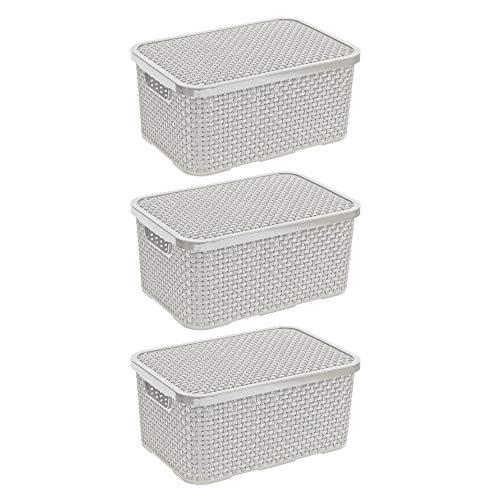 BranQ - Home essential Deckel Korb in Rattan Design 3er Set Grösse M 10l, Kunststoff PP, Creme, 10 l, 3