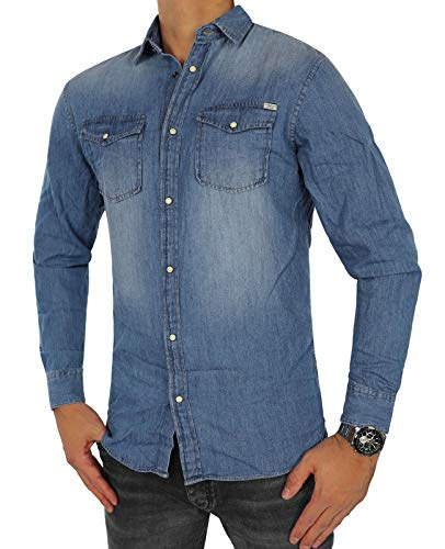JACK & JONES Herren Jeanshemd Jjesheridan Shirt L/S (XXL, Blau (Medium Blue Denim Fit:Slim))