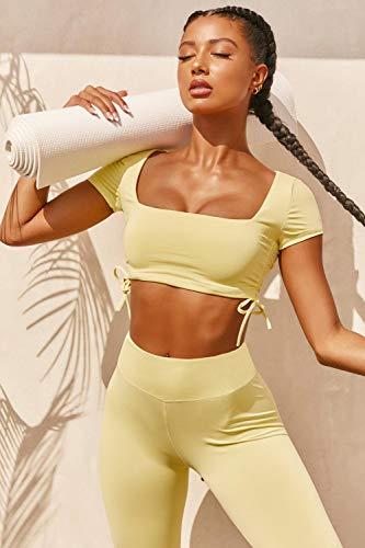 YEESEU 2 unids/Set Fitness inconsútil Mujeres con cordón de Yoga Traje Alto Ejercicio estirado Deporte Juego Acolchado Deportes Sujetador Alto Cintura Legging Gimnasio