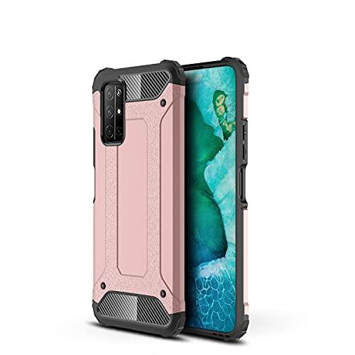 BAOFA Cáscara del teléfono Estuche Protector para Huawei Honor 30s Case TPU + PC Parachoques Dual Capa de Doble Capa Híbrido Hybrid Protective Estuche Roble Funda Protectora (Color : Rose Gold)