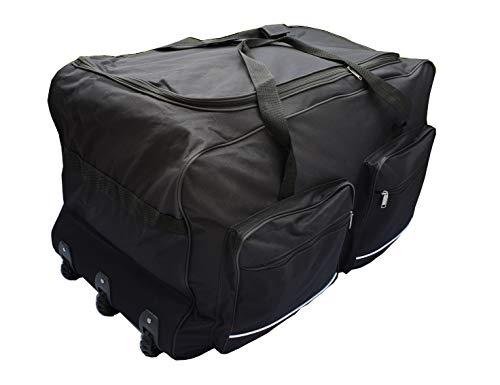 Weiche Reisetasche Sport Koffer Trolley groß mit Rädern Größe L-100L, XL-115L, XXL-150L, XXXL-200L Schwarz und Blau. Schwarz Schwarz  200L