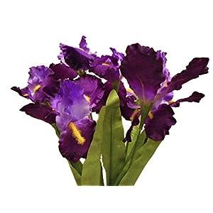 "Silk Flower Arrangements Phoenix Silk Iris Bush Satin 8 Artificial Flowers 22"" Bouquet 6109 Purple"