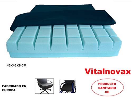 Cojín antiescaras para silla de ruedas, sillón o silla de oficina ANTIPRESIÓN VISCOELÁSTICO, de Vitalnovax. Para el tratamiento de úlceras por presión, hemorroides, coxis u otros problemas.
