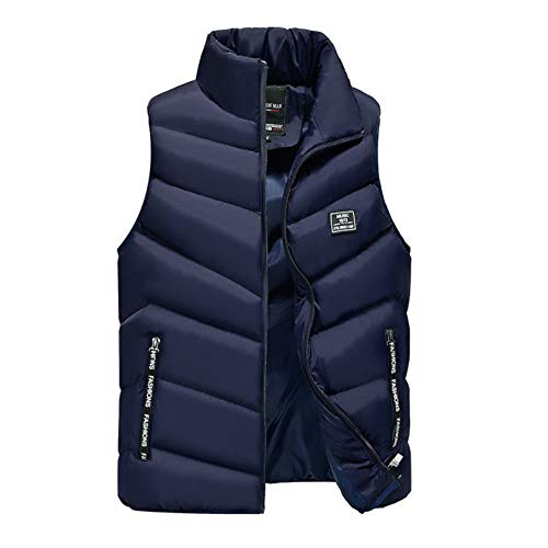 Mens Light-Weight Packable Puffer Down Vests Water-Resistant Polyester Outdoor Sports Stand Collar Side Pockets Waistcoat Jacket