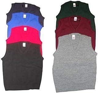 ONLYuniform Mens Kids Plain V Neck Sleeveless Sweater Jumper Red Adult M