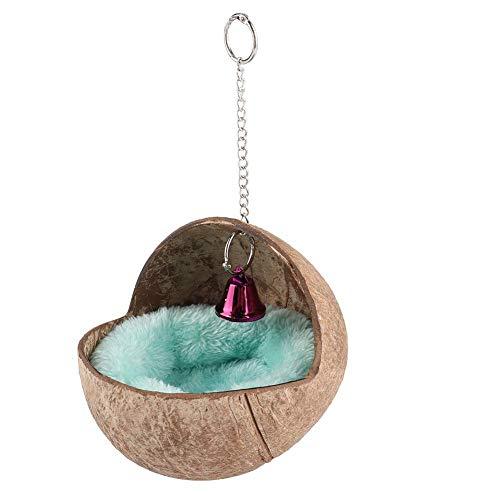 HEEPDD Vogelhaus, hängende natürliche Kokosnussschale Birds House Hut Zucht Nesting Bird Voliere Käfig Box Anti-Pecking Bite mit warmen Pad und Glocke für Wellensittich Wellensittich Finch Sparrows