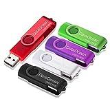 5 Piezas DataOcean 16GB Memorias USB 2.0 PenDrives Giratoria Pen Drive 16 GB Unidad Flash(5 Colores Mezclados: Negro Rojo Verde Morado Plata)