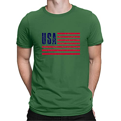 YSYOkow Camisas patrióticas para hombres camiseta de la bandera americana