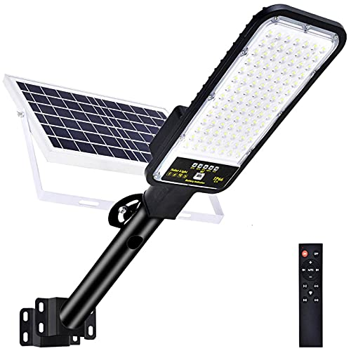 100w Solar Street Light Outdoor Dusk to Dawn,98 Led Beads Security Flood Lights Solar Powered with Motion Sensor and Remote Control for Parking Lot Garden Yard Garage