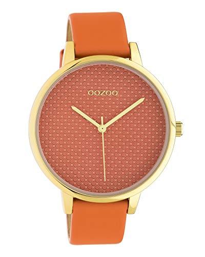 Oozoo dameshorloge met structuur wijzerplaat en lederen band 42 MM goudkleurig/oranje C10592