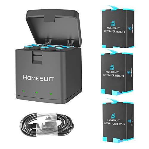 Homesuit 最新型 Gopro HERO 9 対応 バッテリー 3*1800mAh 交換バッテリー+用収納ボックス式 3ポートUSB充電器 同時充電可能 バッテリーチャージャー セット USB Type-Cインターフェイス