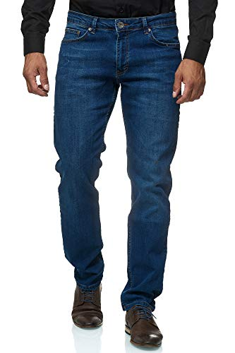 JEEL Herren-Jeans - Regular Fit Straight Cut - Stretch - Jeans-Hose Basic Washed 03-blau 36W / 34L