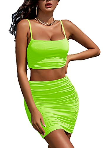 Ladmous Women Sexy Spaghetti Strap Crop Top Ruched Skirt Outfit Two Piece Bodycon Tank Neon Dress Light Green, XS
