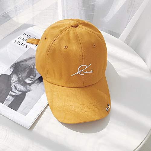 Einfarbig Persönlichkeit Hoop Softtop Baseball Hut weibliche Flut dreidimensionale Buchstaben Kappe männliche Kurkuma einstellbar