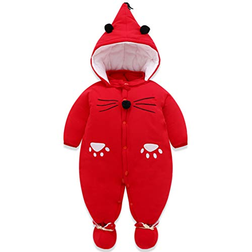 Baby Overall Strampler Winterjacke Onesie Unisex Cartoon Baby Strampelanzug mit Kapuze 3 Monate