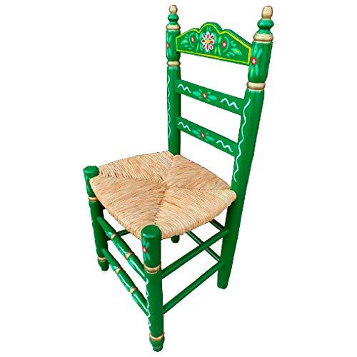 Silla Sevillana de Madera Color Verde Decorada Artesanalmente con Asiento de Enea Natural. Incluye 1 Unidad.