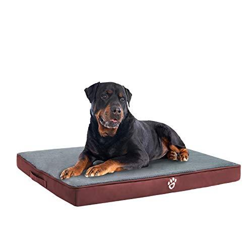 FRISTONE Orthopädisches Hundebett für Kleine Mittlere Große Hunde, Waschbar Hundematratze, Eierkistenform Schaum Hundekissen mit Abnehmbarem Bezug,Rot