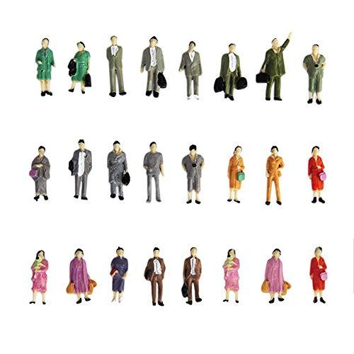 Naisicatar 24X Painted Modellbahn Steht Haltung Menschen Figuren Maßstab HO (1 bis 87) Simulation PeopleToy Mischfarbe Interessantes Spielzeug