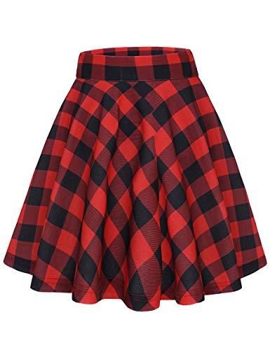 MuaDress 9004 Rétro Jupe Femme Plissée Ecossais de Danse Costume Bureau Ecole Jupe Evasée Swing Patineuse Fille Carreaux Noir Rouge S