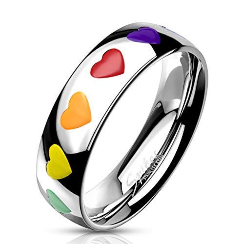 49 (15.6) Bungsa© REGENBOGEN Herz Ring Damen - silberner EDELSTAHLRING für Frauen mit bunten Herzen - DAMENRING mit grünem, gelbem, orangem, rotem & violettem Herz - RAINBOW LGBT Gay Pride