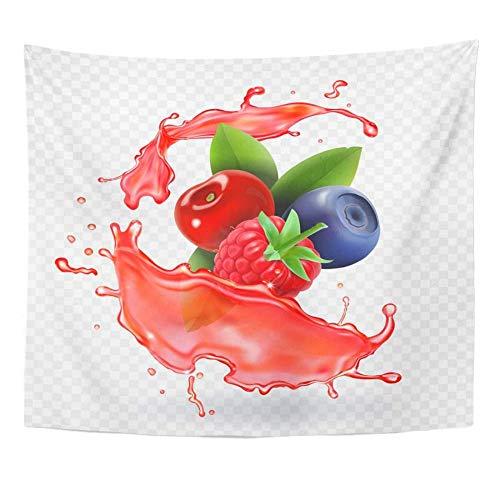 Wandteppich Obst White Berry Forest Gemischte Beeren Saft Splash Erdbeer Getränketapisserie Wohnkultur Wandbehang zum Leben- (51x59inch)