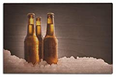 Three Full Beer Bottles on Ice & Dark Background 9013447 (12x18 Wood Wall Sign, Wall Decor Ready to Hang) Printed in the USA, sustainable birch Routered groove in back of wood panel is ready for hanging, with 60 second install! Perfect for your home,...