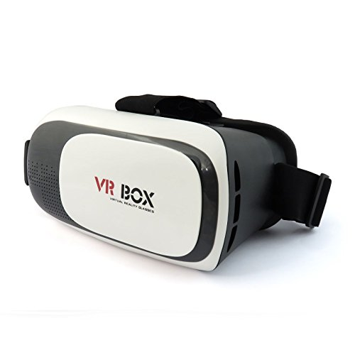 3D Virtual Reality VR Box 2.0 Glasses Smart Phone Universal Headset Goggle Video Compact Portable Design Adjustable lens & Focus Controls (Black)