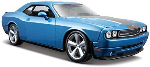 Maisto Dodge Challenger SRT8: Originalgetreues Modellauto 1:24, Türen und Motorhaube zum Öffnen, Fertigmodell, 20 cm, orange (531280)