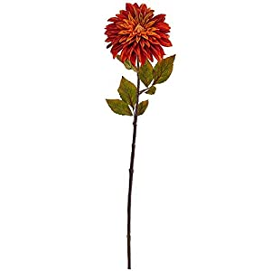 "Nearly Natural 28"" Dahlia Flower (Set of 6) Artificial Plant Orange"