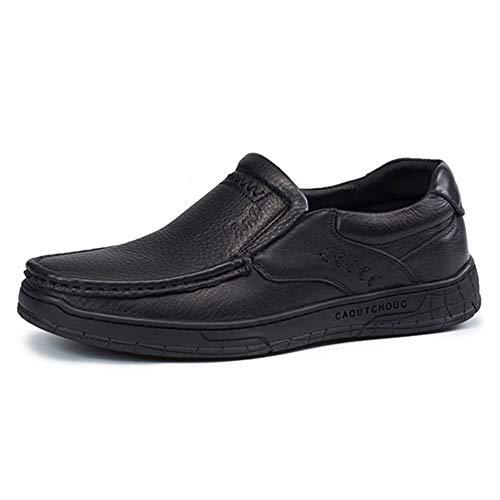 Mocasines clásicos para hombre con puntada, zapatos de conducción, de piel auténtica, estilo Oxford, sin cordones, puntera plana, con tacón plano, inmune antideslizante (color: negro, talla: 43 EU)