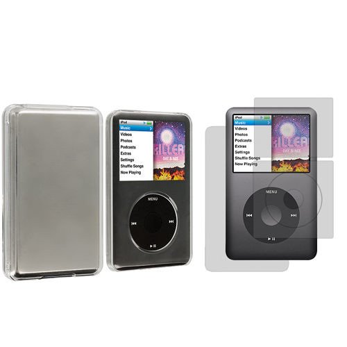 Snap-on Clear Transparent Hard Case Cover + Screen Protector for iPod Classic 80GB 120GB 160GB 6th Generation