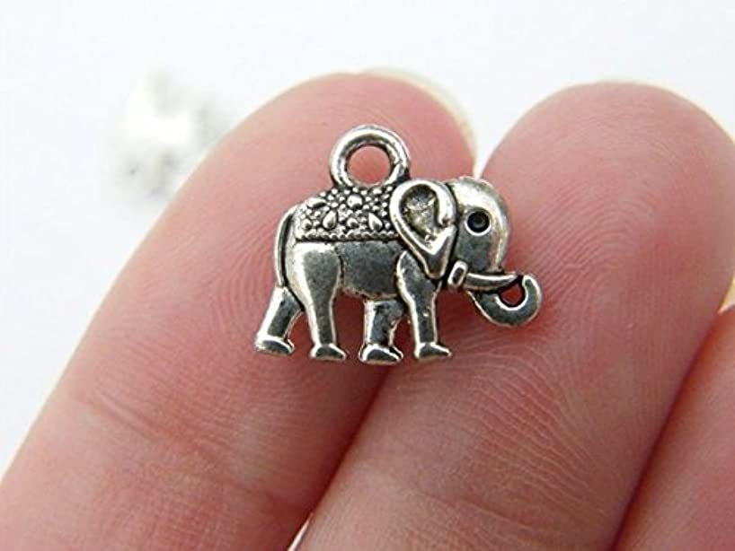 10 Elephant charms antique silver tone 13 mm x 12 mm (NS615)