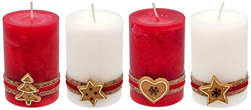 ZauberDeko 4 Adventskerzen Kerzen Stumpenkerzen Rot Creme Kekse Plätzchen Weihnachten Advent Deko Tischdeko