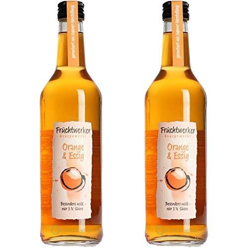 Fruchtwerker   Orange & Essig   Mit Saft aus echten Früchten  2er Pack   2x 500ml Glasflasche
