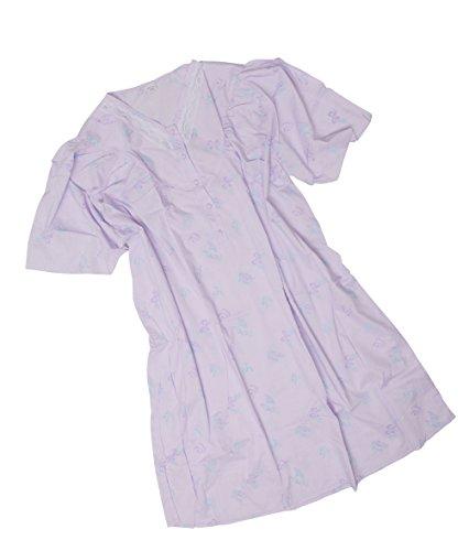 AdoniaMode Damen Nacht-Hemd Nachtkleid Sleepshirt Nachtwäsche V-Ausschnitt Knopfleiste Kurzarm Knie-lang Batist 34-09 Schmetterling Lila Gr.60/62