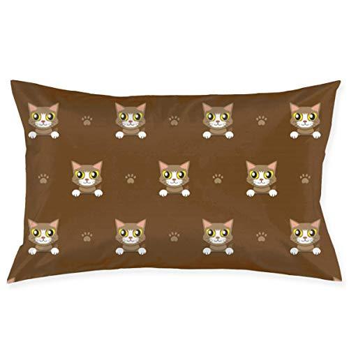 Funda de almohada para cama de 50,8 x 76,2 cm, tamaño Queen estándar, diseño de gato marrón