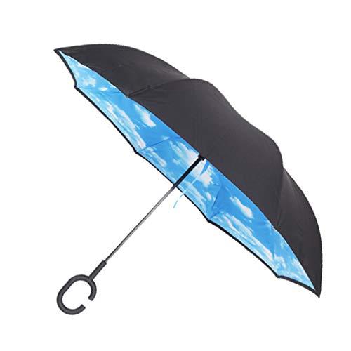 sharprepublic Umgedrehter Regenschirm mit C-Griff, Reverse Regenschirm umgekehrter Schirm Inside Out öffnet anders herum Golfschirm Stockschirm - Blauer Himmel Weiße Wolke