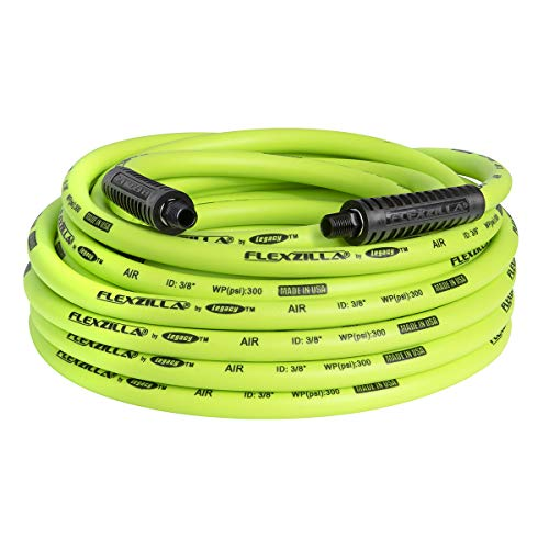 Flexzilla Air Hose, 3/8 in. x 50 ft., 1/4 in. MNPT Fittings, Heavy Duty, Lightweight, Hybrid, ZillaGreen - HFZ3850YW2