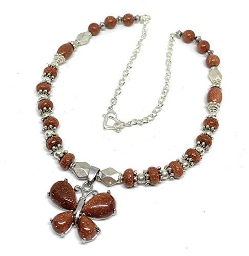 Butterfly goldstone pendant beaded women unique 4 shop years warranty necklace