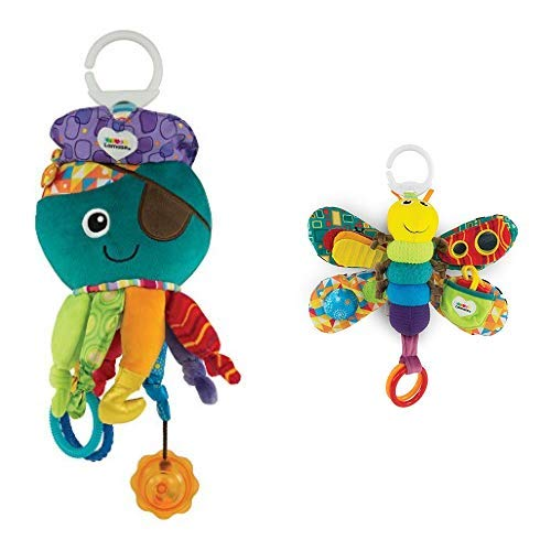 Lamaze Baby Spielzeug Captain Calamari, die Piratenkrake Clip & Go - hochwertiges Kleinkindspielzeug- ab 0 Monate &  Freddie, das Glühwürmchen Clip & Go - hochwertiges Kleinkindspielzeug