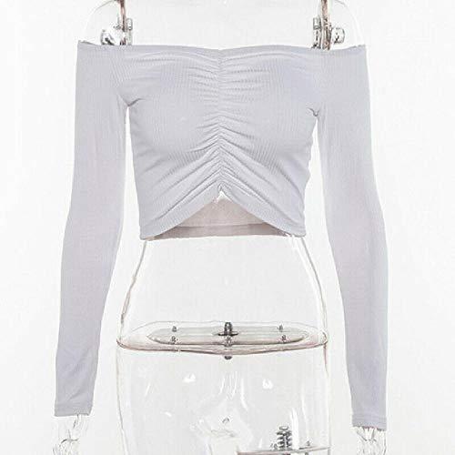 Herbst New Solid V Cut Off Schulter Langarm Crop Tops Frauen 2019 Gestrickt Smocked Wrap Basic Skinny Mieder Short T Shirt