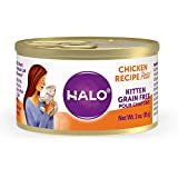 Halo Purely For Pets Grain Free Natural Wet Cat Food - Kitten Recipe - Premium and Holistic Chicken Paté - 3oz Can (Pack of 12) - Sustainably Sourced Wet Cat Food, BPA Free, and Highly Digestible