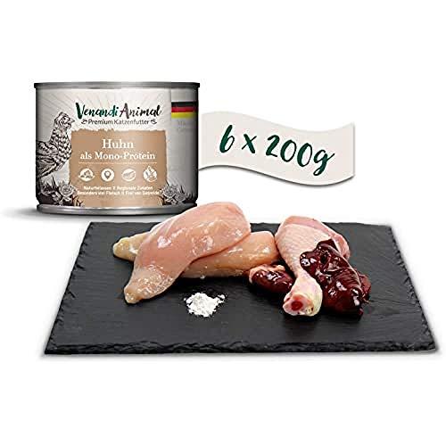 Venandi Animal Mangime per Gatti Premium, Pollo Come Mono-Proteina, Senza Cereali - Pacco da 6 x 200 g