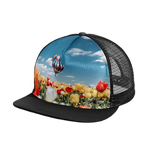 N\O Blumenfeld Heißluftballon Himmel Herren Baseballkappe Outdoor Sport Snapback Hut Verstellbare Frauen Sonnenschutz Hüte für Sommer Strand Wandern Laufen